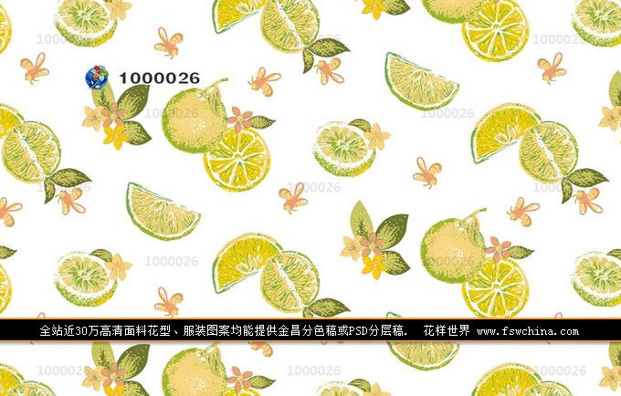 水果印花图案 面料花型设计 给夏天添一点清新惬意